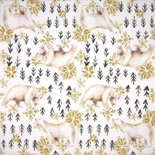 Paper Napkin - Glitter Polar Bears