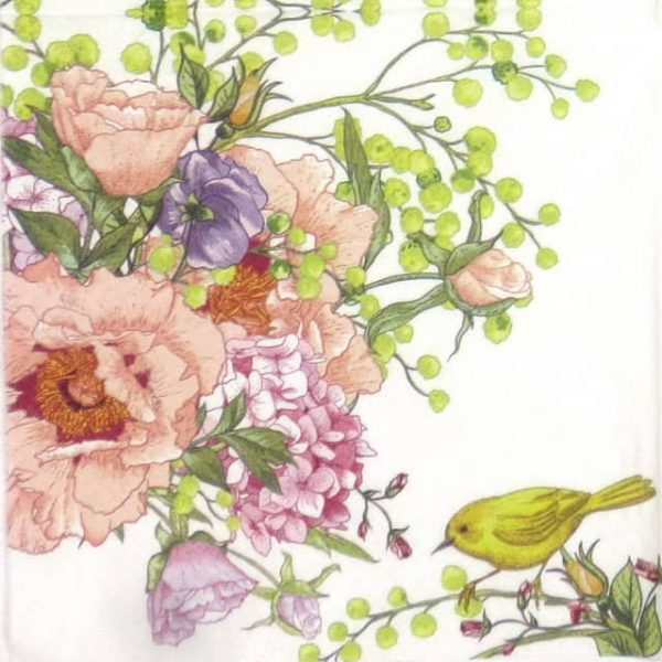 Paper Napkin - Bird on flower