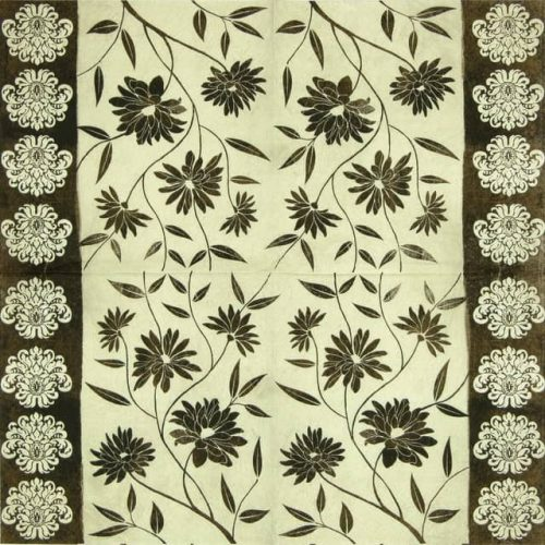 Lunch Napkins (20) - Flowery Decor Brown