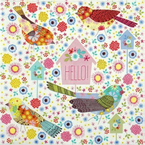 Lunch Napkins (20) - Patchwork Birds
