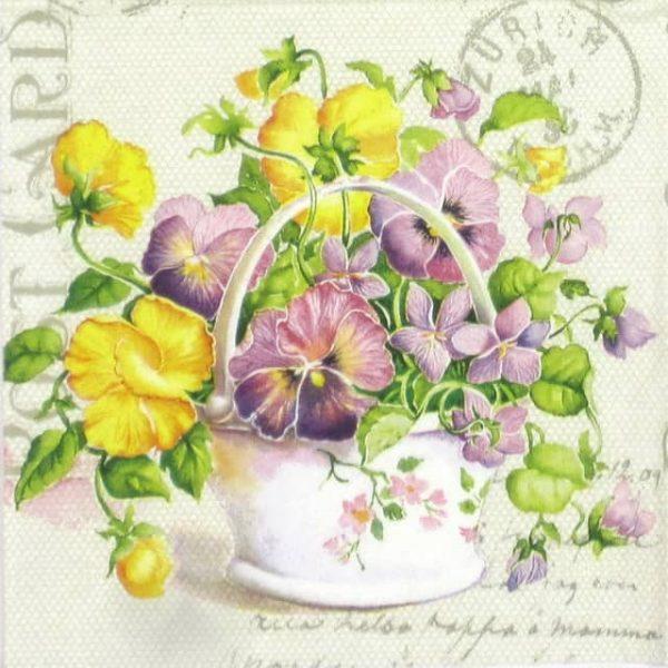 Paper Napkin - Flower Letter