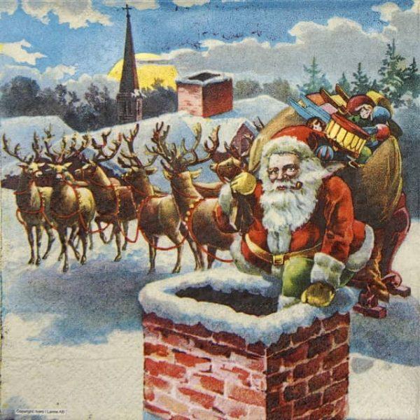 Paper Napkin - Santa & Chimney