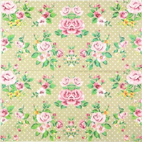 Paper Napkin - Polka Dot Roses Beige