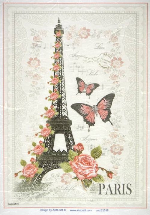 Rice Paper - Eiffel with roses