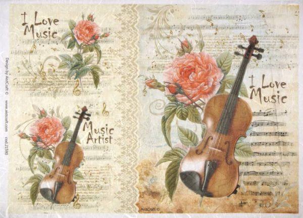Rice Paper - Roses and Violin