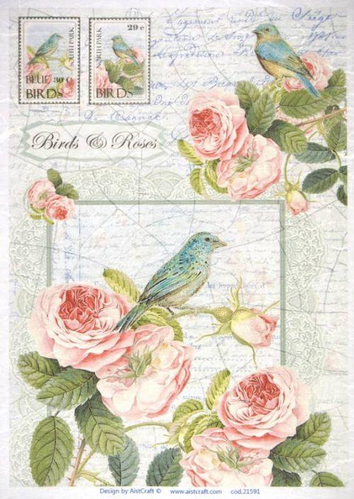 Rice Paper - Birds & Roses