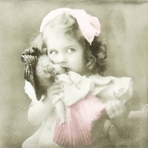 Paper Napkin - Girl with Doll