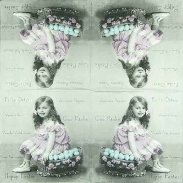 Paper Napkin - Girl with egg basket