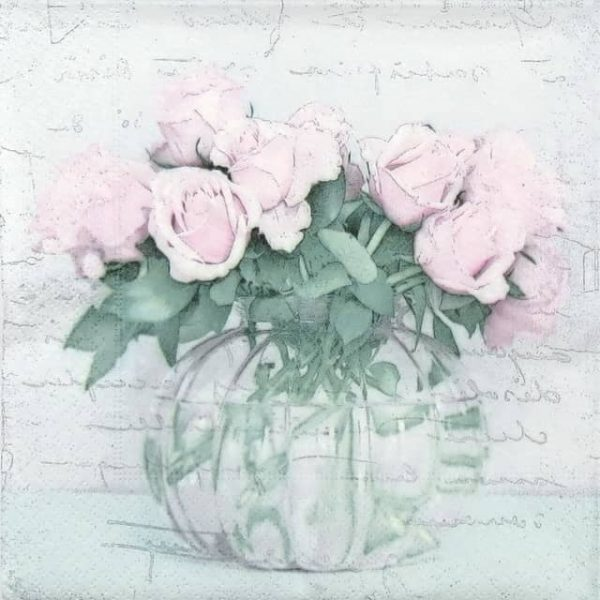 Paper Napkin - Vase and Roses
