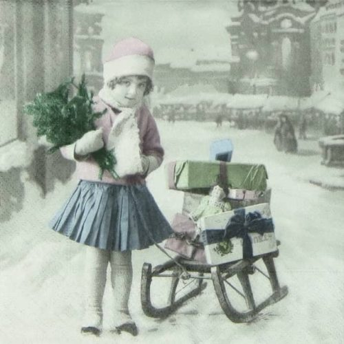 Lunch Napkins (20) - Girl with sled