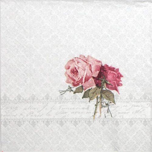 Paper Napkin - Rose Bouquet Ornament 2 - Vintage