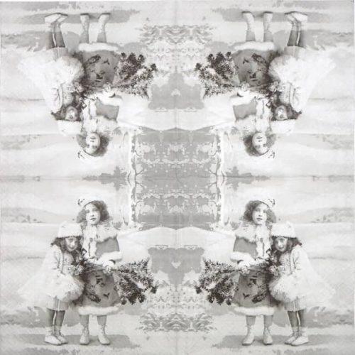 Paper Napkin - Two Girls Winter X-Mas