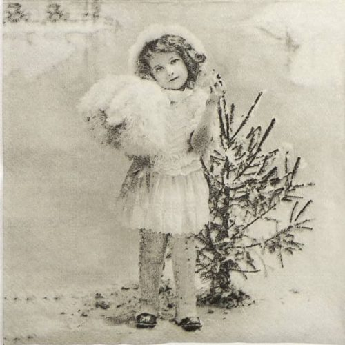 Paper Napkin - Girls with Christmas Tree