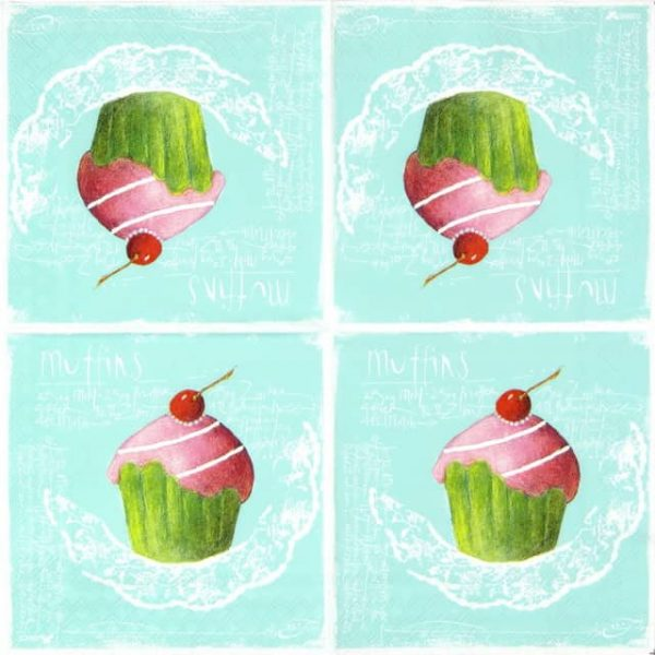 Paper Napkin - Pink Muffins on green