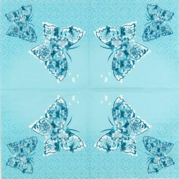 Lunch Napkins (20) - Papillons de Reve aqua
