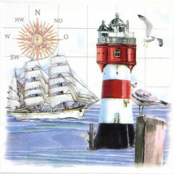 Paper Napkin - Lighthouse and Compass