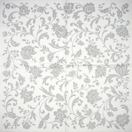 Cocktail Napkin - Arabesque silver-white