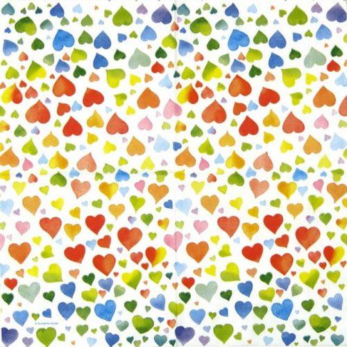 Paper Napkin - Colourful Hearts mix