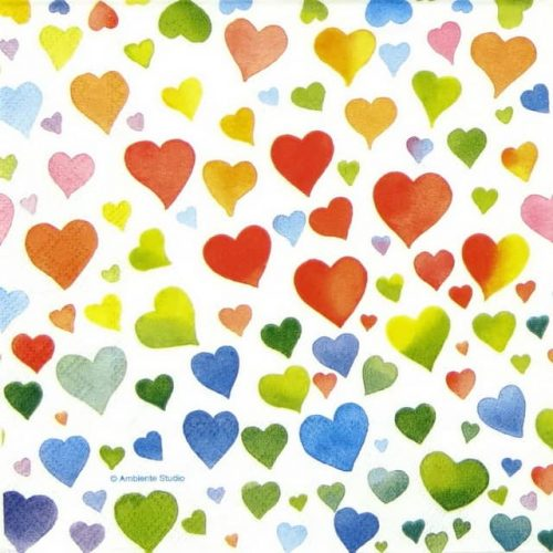 Paper Napkin - Colourful Hearts mix