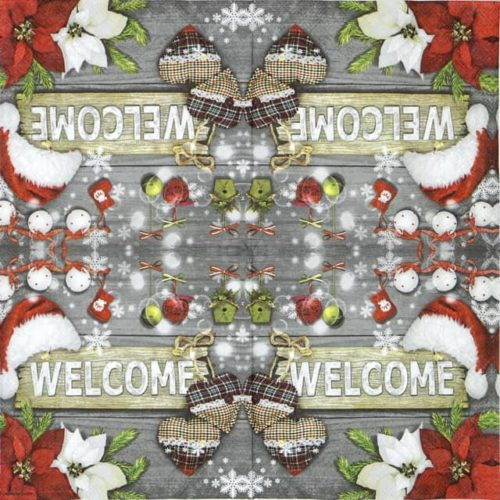 Lunch Napkins (20) - Welcome Santa grey