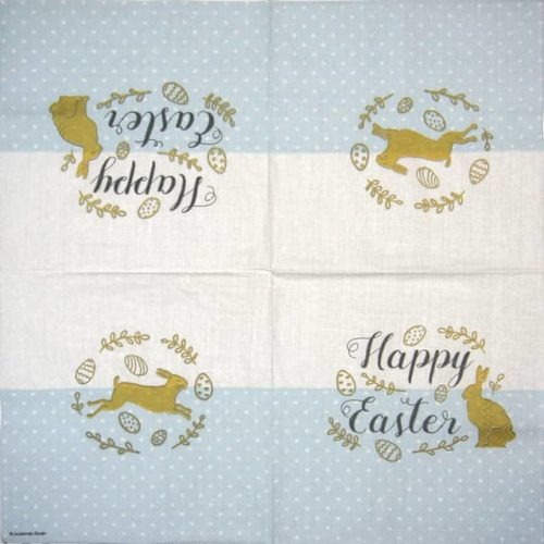 Paper Napkin - Embroidery Easter blue
