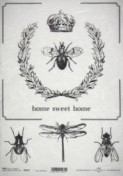 Rice Paper - Black & White Dragonfly