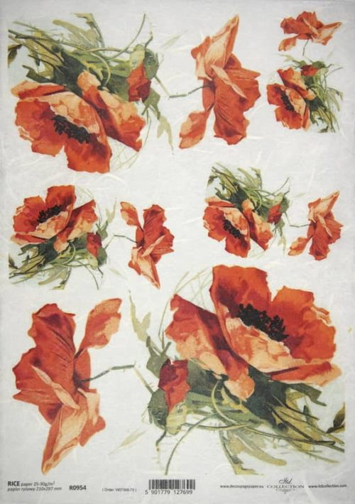 Rice Paper - English Poppies