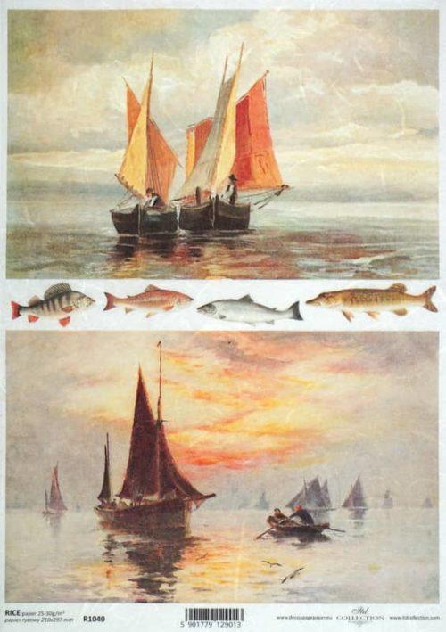 Rice Paper - Sailing and Fishing