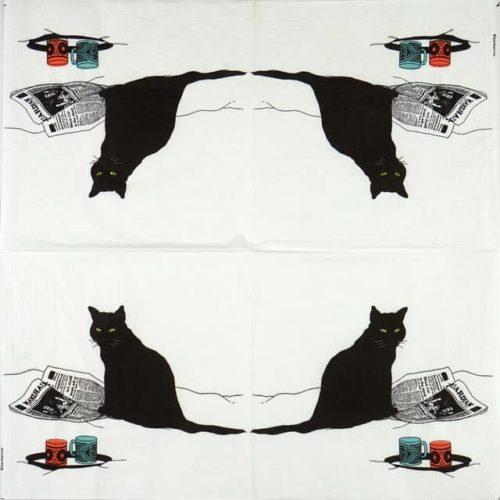 Paper Napkin - Sue Boettcher: Black Cat Journal