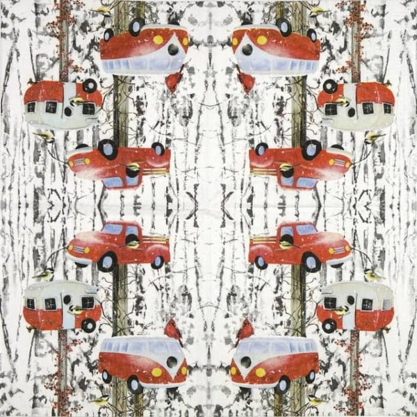 Paper Napkin - Barb Tourtillotte: Retro Birdhouse