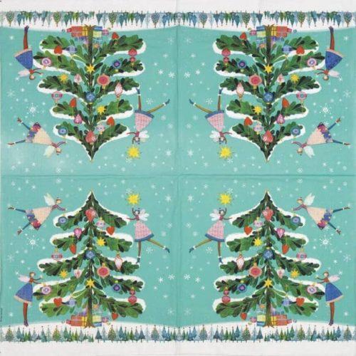 Lunch Napkins (20) - Mila Marquis: Happy Xmas Tree