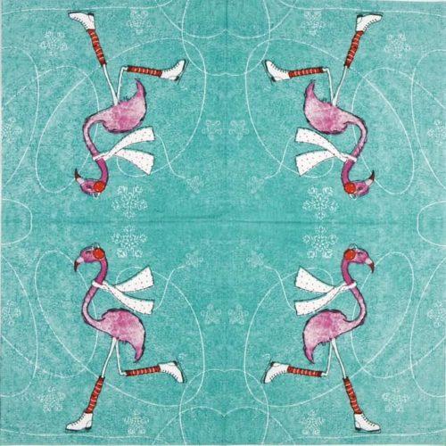 Paper Napkin - Wiebke Wichmann: Skating Flamingo