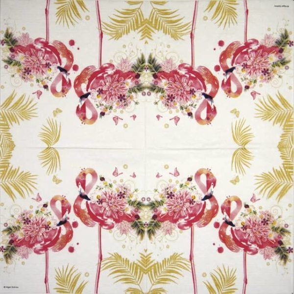Paper Napkin - Nigel Quiney - Floral Flamingos