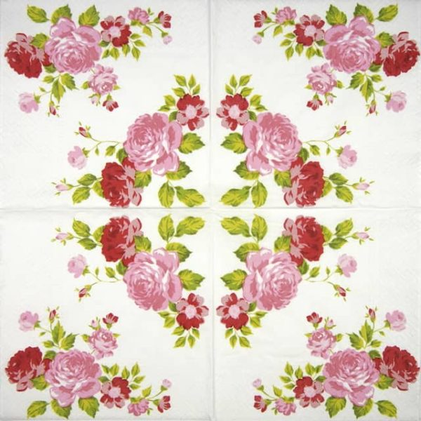 Lunch Napkins (20) - Roses Composition pink
