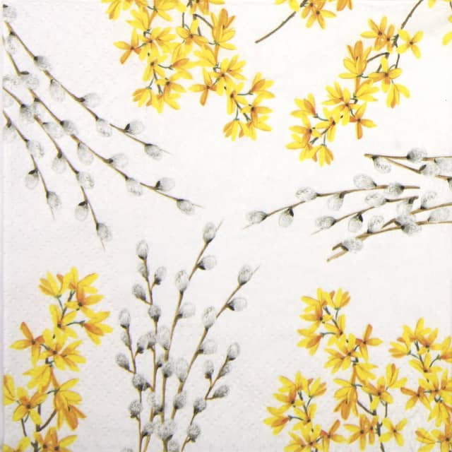 Paper Napkin - Catkins and Forsythia