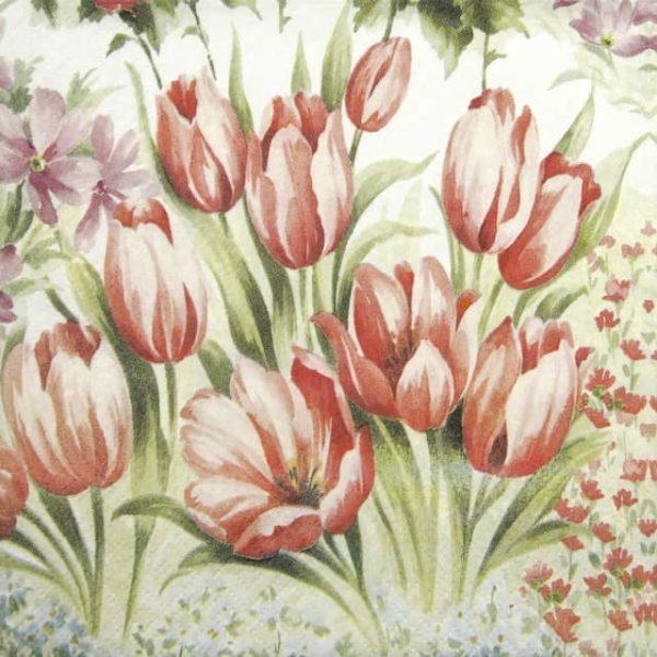 Paper Napkin - Bright Tulips