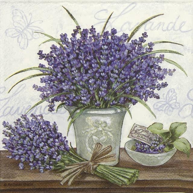 Paper Napkin - Lavender Scene cream