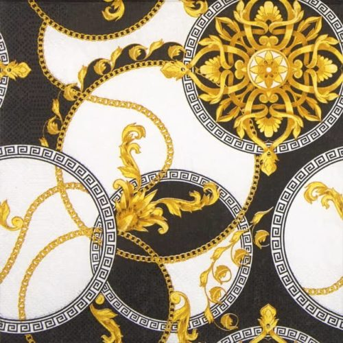 Paper Napkin - Golden Barocco Rosettes in Circles