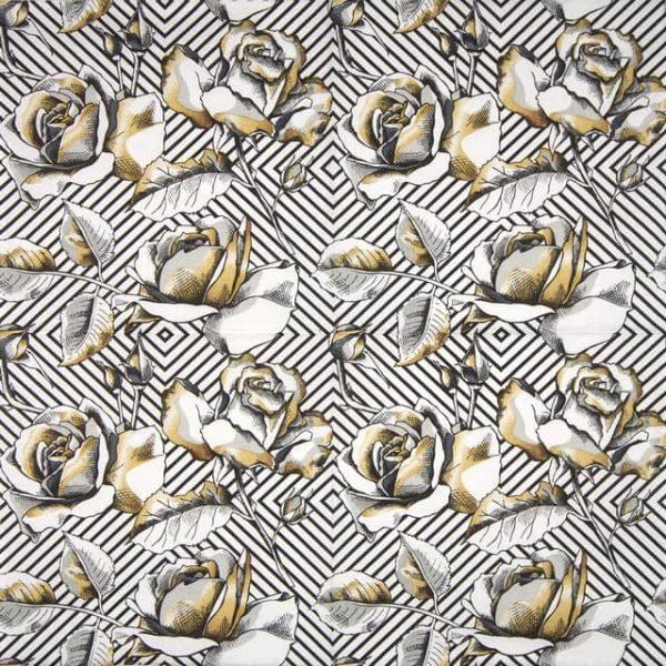 Lunch Napkins (20) - Golden Roses on a Diagonal Stripes