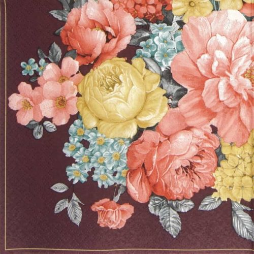 Lunch Napkins (20) - Bunch of Flowers with Mandala Dark Claret