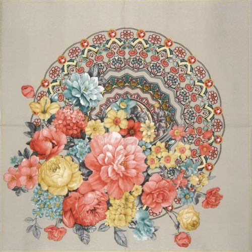 Lunch Napkins (20) - Bunch of Flowers with Mandala Warm Grey