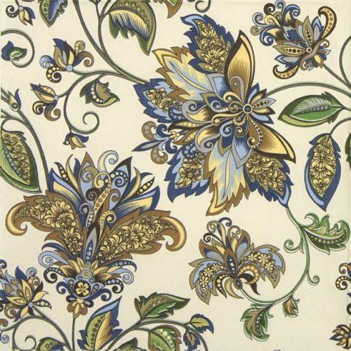 Paper Napkin - Golden Blue Hindi Pattern