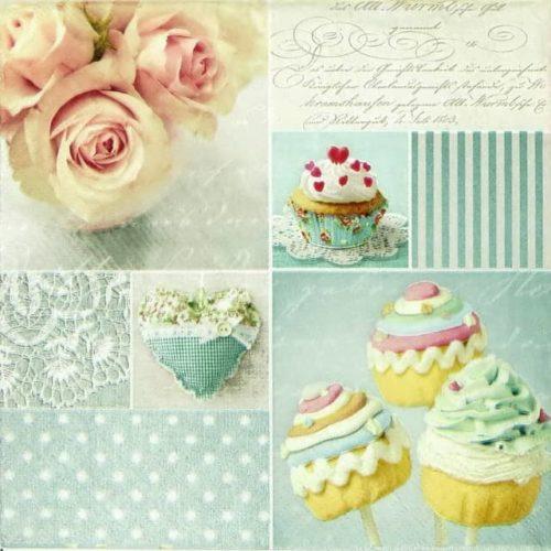 Paper Napkin - Vintage Cupcakes
