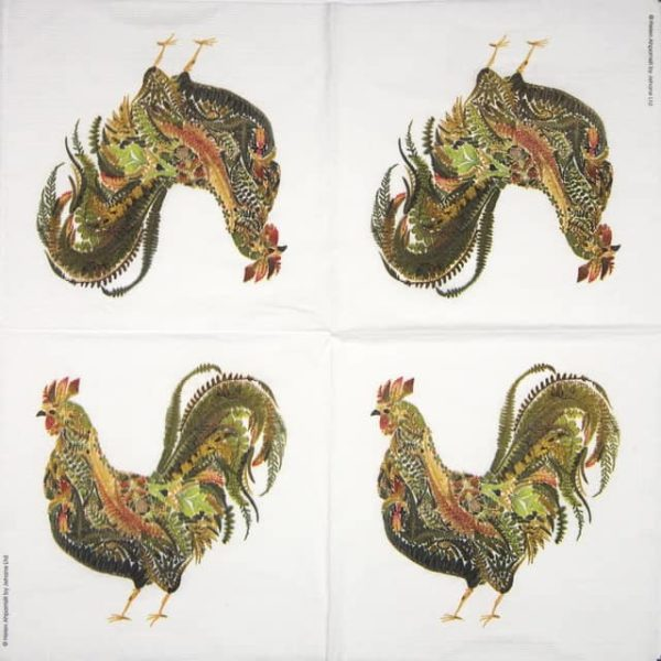 Lunch Napkins (20) - Helen Ahpornsiri: Green Rooster