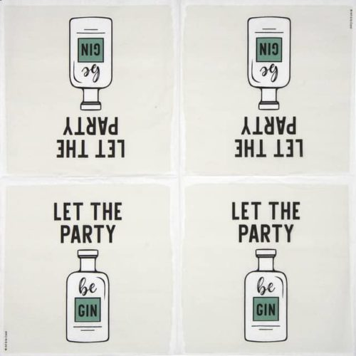 Cocktail Napkin - Art a la Card: Let the Party be Gin