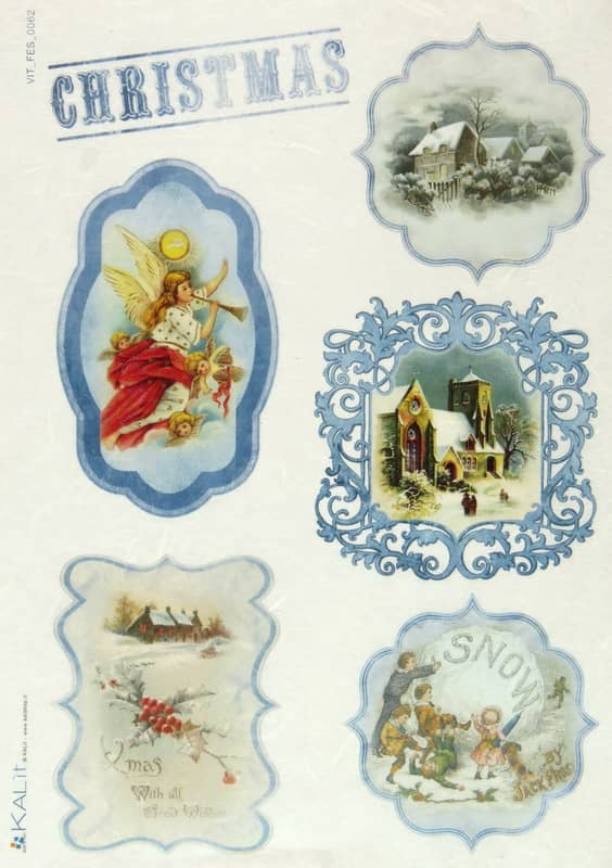 Rice Paper - Blue Christmas
