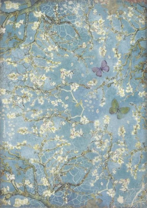 Rice Paper - Atelier Blossom blue background with butterfly