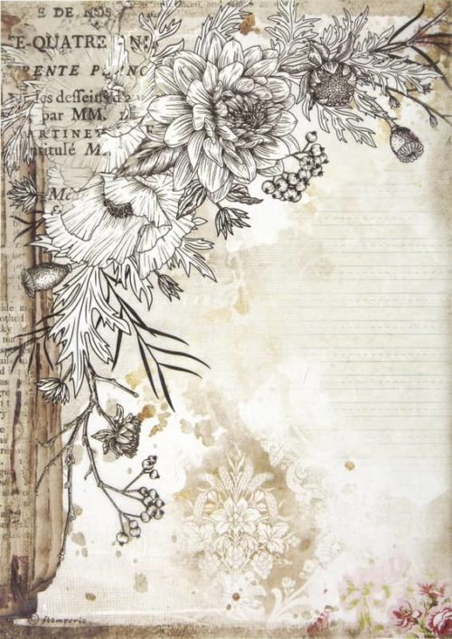 Rice Paper - Romantic Journal stylized flower