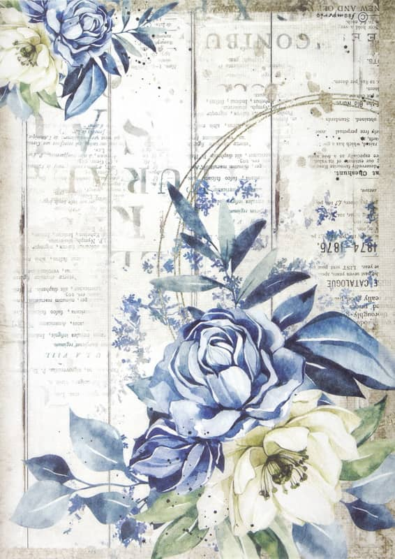 Rice Paper - Romantic Sea Dream blue flower