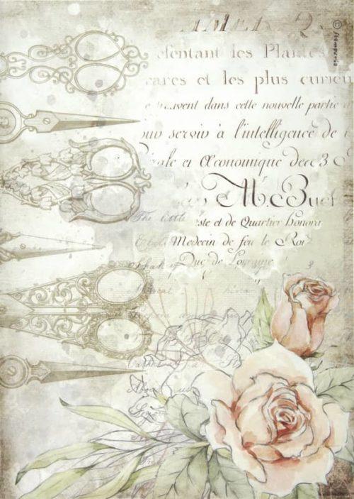 Rice Paper - Romantic Threads scissors and roses